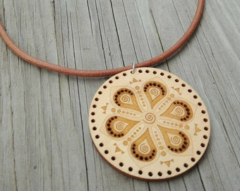 Mandala Pendant * Laser Cut Jewelry * Wood Laser Cut Pendant * Mandala Pattern Jewelry * Spiritual Adornment