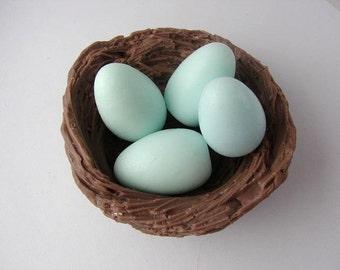 Birds Nest with 4 Blue Eggs