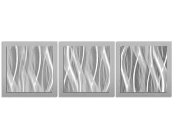 Metal Wall Art U0027Metallic Essenceu0027   38x12 In.   Silver Color Metal Artwork.  Minimalistic Decor, Contemporary Art Design