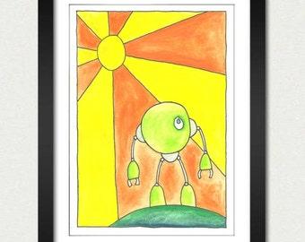 Little Green Robot – Roundbot – Slobot Art Print on Paper
