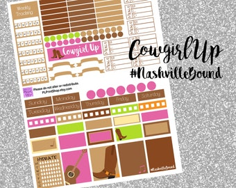 Weekly Planner Printable Stickers, Cowgirl, Nashville, Music City, Guitar, Boots, ECLP, Planner Stickers