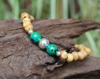 Bracelet natural pearls - the Peru, chrysocollas stones and 925