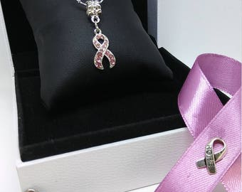 necklace, pendant, Ribbon pink, Pink Rhinestone breast cancer, chain stainless steel, woman, gift