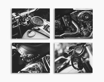 Set of 4 Harley Close up Photo Prints, Black and White Fine Art, Wall decor,
