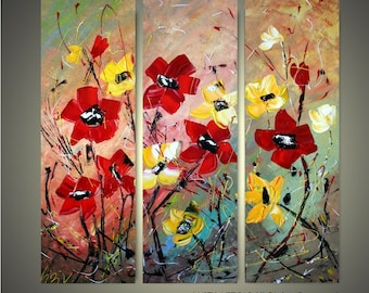WILDFLOWERS Original Palette Knife Impasto Oil Painting Triptych Art
