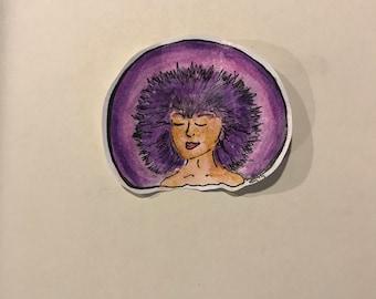 Purple Haired Girl big sticker