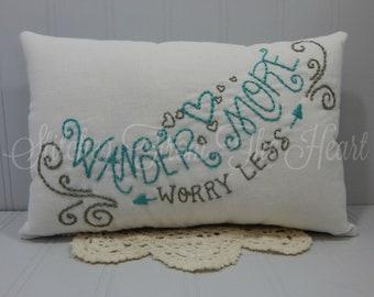 Wander More Worry Less - Decorative Pillow - Adventure Home Decor Pillow - Wanderlust - Travel