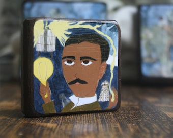 Nikola Tesla 2.5 X 2.5 inch Icon Print on Wood