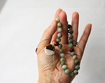 27 +1 Bead African Jade (Buddstone Gems) & Rosewood Meditation Mini Mala - Pocket Mala - Japa - Prayer Beads for Mantra Chanting - Yoga Gift