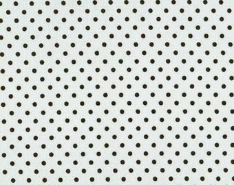Light Taupe and Black polka dots 100% cotton fabric [[by the half yard]]