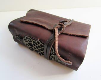 "Handmade Leather Journal, Leather Bound Book, Diamond Binding, Wedding Gift, Third Anniversary Gift, Wedding Guest Book  6"" x 7 1/2"""