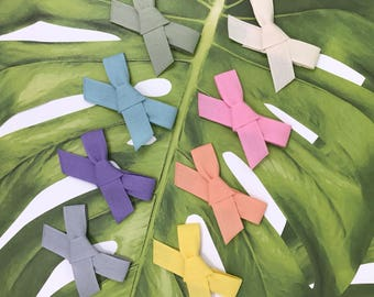 Hand-Tied Bow Snap Clips in Fettuccia Ribbon // Eco-Friendly Cotton Hair Clips