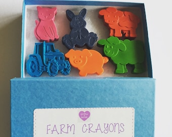 Farm Crayons, Kids Birthday Gift, Farm Gift Boxed Crayons, Colouring Activities, Kids Craft, Farm Party, Kids Gift Boy or Girl