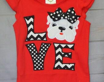 Personalized LOVE Bulldog Football Applique Shirt or Bodysuit