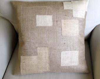 Block Work Burlap pillow 20x20
