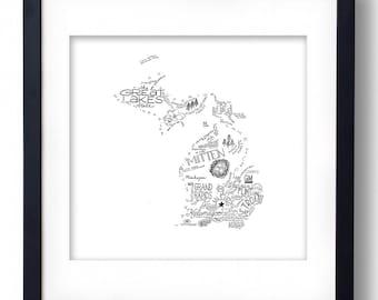 Michigan - Hand drawn illustrations and type