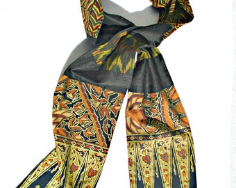 African Scarf,  Patchwork Scarf, Black and Gold, Ethnic, Tribal, Pieced Scarf, African Print, Men's Tribal, Men's Scarf, Silk, Cotton, OOAK