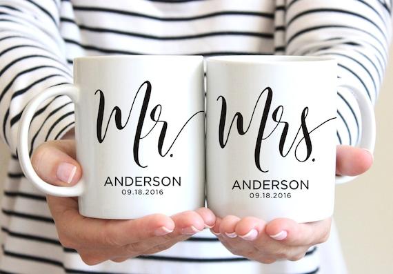 Mrs Mrs Wedding Gifts: Mr & Mrs Mugs Custom Wedding Gift Personalized Wedding Mugs