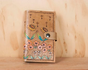 iPhone 7 Plus Card Case - Leather Wallet and Case for iPhone SE, 5, 6, 6+, 7 and 7+ 8, 8+, X - Seeds Pattern with Flowers in Antique Brown