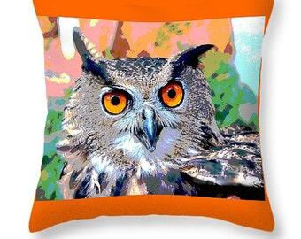 Owl Pillow, Indian Eagle Owl, Bird Art, Cabin or Home Decor, Wildlife Artwork, Woodland Animal, Orange Throw Pillow, Nature Decor