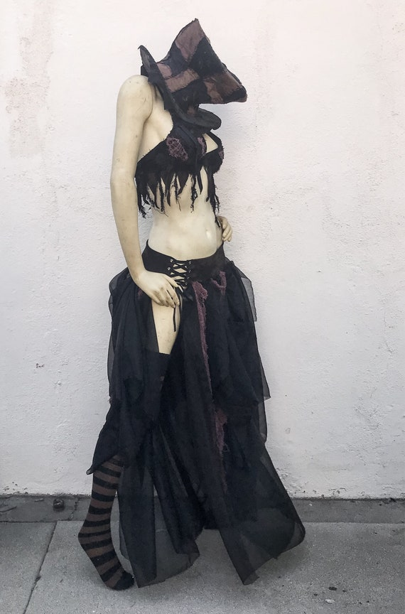 Wasteland Brown Dyed Apocalyptic Skirt Hand Outfit Outfit Corset Gothic and Black Costume qTqnwSFR