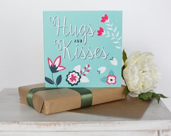Hugs and kisses greeting card, happy valentines day card, love card, get well soon card, scandi card, thinking of you card, (AHS021)