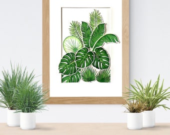 Tropical garden, tropical leaves, wall decor, house decoration