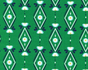 Lotus Pond Diamonds are Forever in Green, Rae Hoekstra, 100% GOTS-Certified Organic Cotton, Cloud9 Fabrics