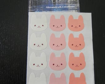 It's new! Set of 12 Bunny stickers in shades of pink