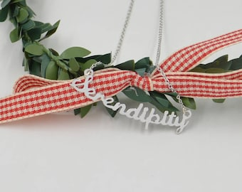 Silver sentance necklace-Personalized word jewelry-you can write any sentance-Christmas gift
