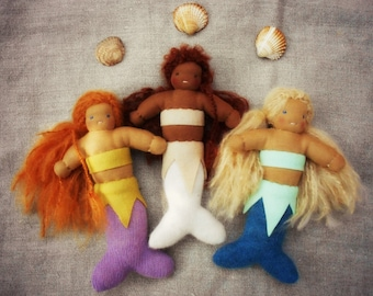 "Waldorf inspired 7.5"" baby mermaids, Waldorf dolls, cuddle dolls, made from completely natural materials"