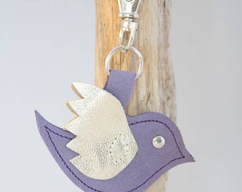 Handbag charm / Keyring purple swallow leather - handmade