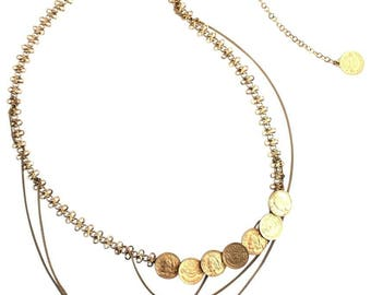 Chanel #16120 Gold Mademoiselle  Cc Coco Coin Belt Two Way Multi Chain Necklace