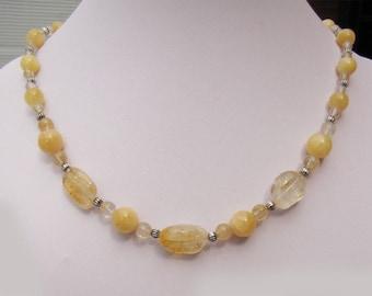 Yellow quartz, citrine and aragonite necklace