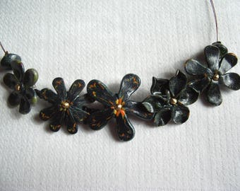 Choker necklace all with polymer clay flowers