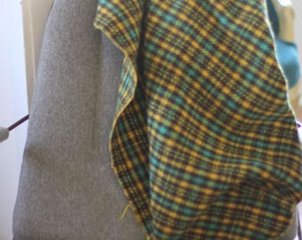 Waverly Wool Houndstooth Blanket (green, yellow and blue)