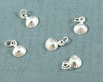 Shell Charm - Sterling Silver - Scallop Shell Charm - 7x10mm - Sold Per Piece