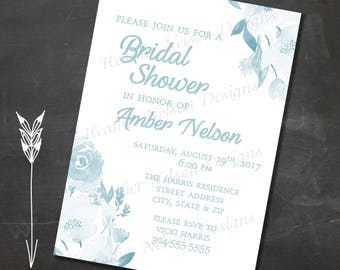 Blue Floral Digital Bridal Shower Invitation