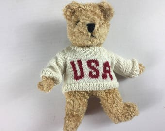 """TY Bear 1992 Stuffed 11"""" Plush Teddy Beans USA Sweater 90s Collectible Toy"""