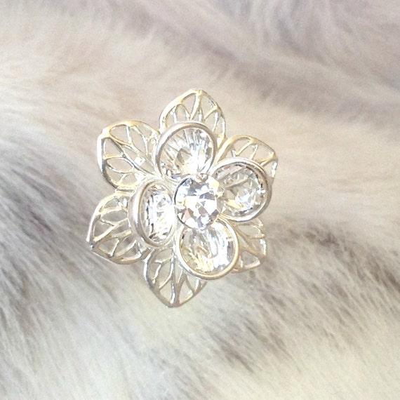 Silver Fused Floral Filigree Earrings Swarovski Crystal Clear Rhinestones 22.5mm Titanium Silver Post Flower Minimalist Stud Ladies Jewelry