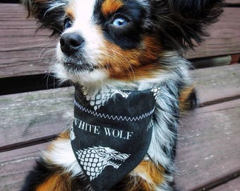 Game of Thrones Dog Bandana, Pet Bandana with House Stark Sigil in White and Phrase The White Wolf
