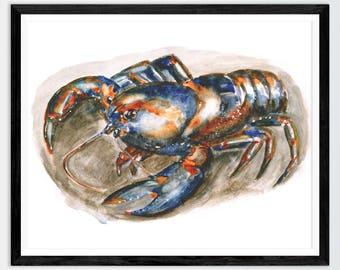 Lobster Painting Lobster Art Lobster Watercolor Lobster Print Lobster Decor Lobster Wall Art Lobster Gift Kitchen Decor  Tasmanian Art