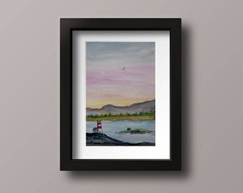 Evening at the Lighthouse: Watercolour, Ocean, Lighthouse, Handpainted