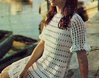 INSTANT DOWNLOAD PDF Vintage Crochet Pattern  Lace Mini Dress Tunic Retro