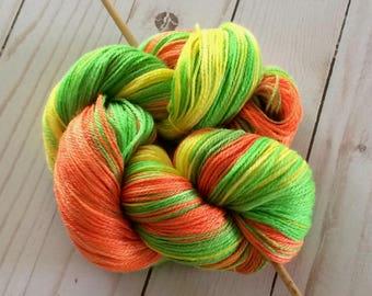 "Wood and Wool Fingering Yarn, Sock Yarn 50/50 Superwash Merino / Tencel ""Highlighters"" Super Soft with Great Shine Approx. 370 yards"
