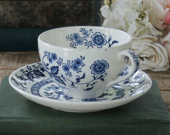 Antique Blue Delft China Tea Cup and Saucer Set, Blue Angel by Present Flow Blue Tea Cup Set