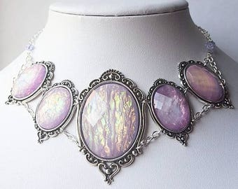 Mermaid Lilac Opal Morticia Necklace
