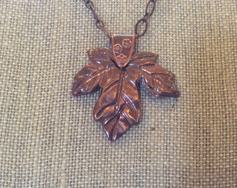 Copper Precious Metal Clay Necklace