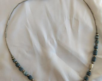 Vintage Silver Necklace with Gray/Blue Beads