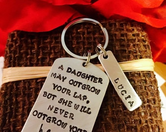 Hand stamped keychain daughter dad mom gift
